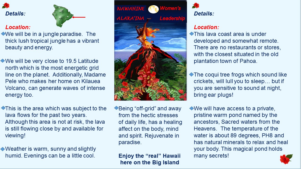 Hawaii jungle lava Kilauea vacation rental ocean Winning Edge Women's Leadership